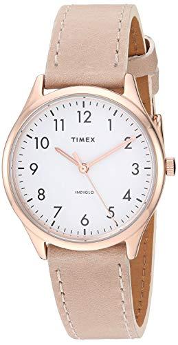 Timex Women's TW2T72400 Modern Easy Reader 32mm Beige/Rose Gold/White Genuine Leather Strap Watch