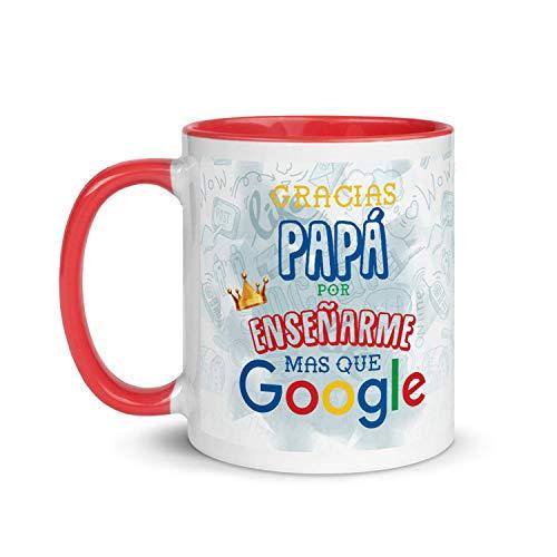 Kembilove Taza de Desayuno para Padre – Tazas para Padres y Abuelos con Frases Graciosas Gracias por enseñarme mas Que Google – Tazas de Desayuno para Regalar el día del Padre – Regalos Originales