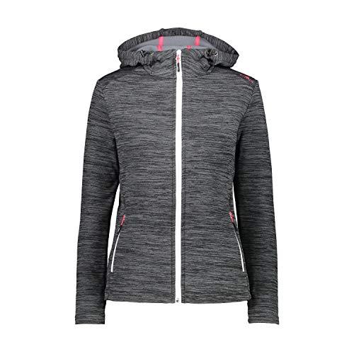 CMP Damen Fleecejacke Woman Fix Hood Jacket 30E9676 Piombo Mel.-Bianco 40