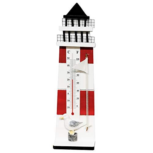 Land-Haus-Shop Leuchtturm Thermometer Maritim Meer Leucht Turm Holz 2 Farben Rot-Weiß Blau-Weiß (Rot-Weiß)