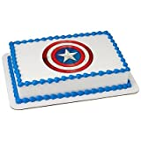 Captain America Icon - Edible Cake/Cupcake Party Topper for 8 inch round cake or larger