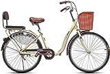 Bicicleta de 24/26 pulgadas Around The Block Beach Cruiser para mujer con asiento y cesta de la compra,bicicleta de carretera Fixie de una velocidad,cuadro ligero para montar en la ciudad (Color:C,tam