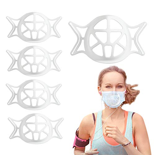3D Mask Bracket Silicone Face Mask Bracket Internal Support Frame Cool Lipstick Protection Stand Wearable Lanyard Bracket,5 Pcs White