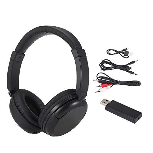 KKmoon Fones de ouvido sem fio FM Fones de ouvido de música com transmissor 3,5 mm e suporte para fone de ouvido com fio RCA Rádio FM para TV, telefones de PC, MP3 Player