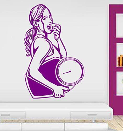 Muursticker 37 x 58 cm fitness weegschaal fitness sticker voor meisjes in staat te verplaatsen wandbehang gemaakt van PVC decoratie voor het huis Modern Art zelfklevend waterdicht creatief DIY