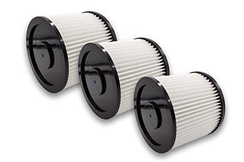 vhbw 3x Filtro compatible con Rotfuchs VCL 1800, VCL 3000 aspiradora filtro de cartucho