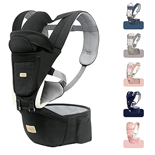 JMMD Baby Carrier with Hip Seat for Newborn & Infant & Toddler 6 in 1 Carrier with Front and Back Carry Designed Ergonomic M Position 360 Baby Soft Carrier Meet Outdoor Traveling All Season Dark Grey