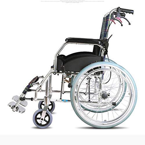 Yadianna Medical Rehab Chair, Wheelchair,Elderly Wheelchair Folding Portable Elderly Disabled Ultra Light Travel Wheelchair Trolley Small Driving Medical Portable Aluminum Alloy Trolley Suitable for A