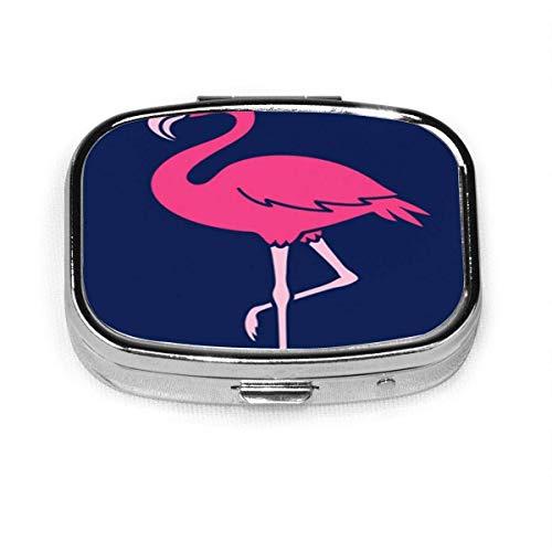 Bunte Tier-Karikatur des Flamingos über Blau-Rosa Schöne quadratische Pillenbox Dekorative Boxen Pillenetui Medizin Tablettenhalter Brieftasche Organizer-Etui für Tasche oder Geldbörse