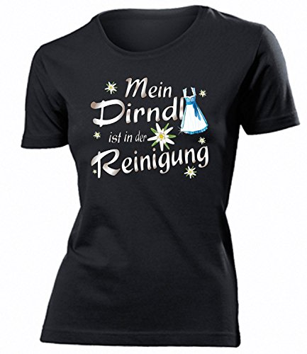 Mein Dirndl ist in der Reinigung 4356 Oktoberfest 2019 Wiesn Frauen Damen T Shirt Oberteile Halstuch Kostüm Lederrock BH Push Up Schwarz XL