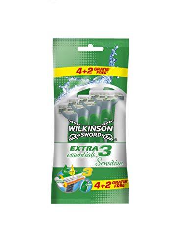 Wilkinson Sword 7000056I wegwerpgraeerapparaat, extra 3 essentials – scheerapparaat met 3 messen voor heren – verpakking met 4 scheerapparaten en 2 scheerapparaten