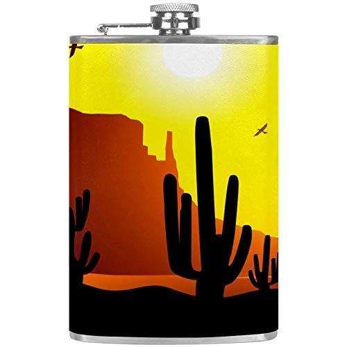 TIZORAX Sunset Cactus Plant RVS heuptas Wine Flacon mok met lederen overtrek voor mannen vrouwen vrouwen 227 ml