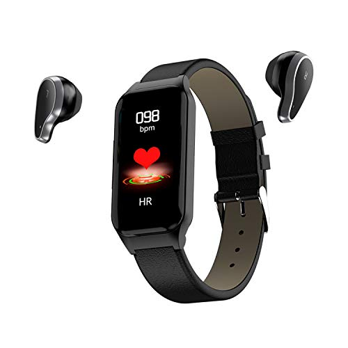 Smart Watch Bracelet & Wireless Bluetooth Earphone 2-in-1 Sports Smart Bracelet Invisible Magnetic Charging Earbuds Fitness Tracker Heart Rate Monitor