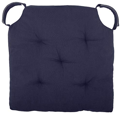 Cottone Polyfill Fiber Chair Pads w/5 Velcro Tucks | 16' x 16' Square Chair Pad | Extra-Comfortable & Soft Chair Cushion Pad| Ergonomic Pillows for Rocking Chairs & More,Navy