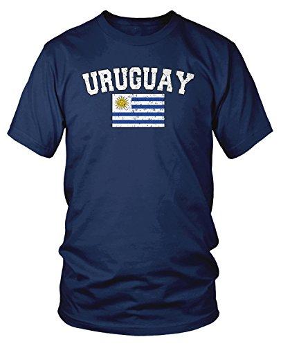 Amdesco - Camiseta de Manga Corta para Hombre, diseño de la Bandera de Uruguay - Azul - Large
