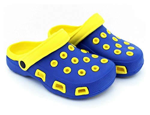 Fashion&Joy Clogs Damen blau gelb Gr. 41 Gartenschuhe Badeschuhe Sandalen - GESCHÜTZT UND GUT BELÜFTET durch den Sommer - Hausschuhe Mädchen Clog Typ428