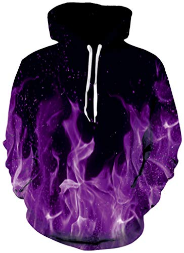 Bro Hoody Sweater Shirt 3D Realistic Printed Flaming Fire Designer Black and Purple Warm Fleece Hoodie Sweatshirts with Drawstring for Womens Men Crew Neck Jersey Clothes 80's Awesome Tracksuit Medium