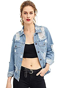 Floerns Women s Causal Long Sleeve Wash Distressed Jean Denim Jacket A Blue M