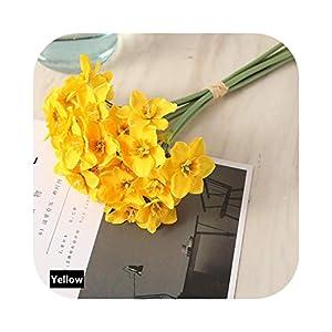 FLOWERS Artificial Narcissus Bouquet Home Decoration Fake Desktop Wedding Scene Decor Daffodil-Yellow
