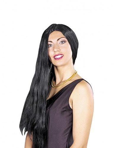 Perruque hippie longue noire. - unique