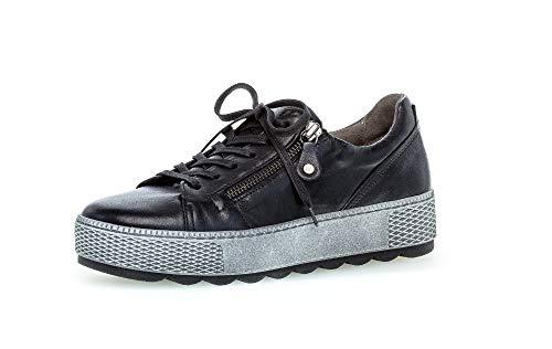 Gabor Damen Sneaker, Frauen sportlicher Schnürer,Comfort-Mehrweite,Reißverschluss,Optifit- Wechselfußbett, Plateau-Sohle,schwarz,40 EU / 6.5 UK