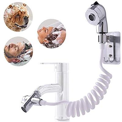 SUNGIFT Sink Hose Sprayer, Bathroom Sink Extension Faucet Rinser Set with Shower Holder, Recoil Hose, Faucet Diverter Valve, Utility Handheld Sink Sprayer Head Attachment for Hair Washing
