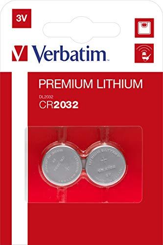 VERBATIM Pila botón de Litio Premium CR2032 Pack 2 Pilas 3V 220mAh I Pilas botón de Litio para Reloj, Llave de Coche, Control Remoto, cámara, Juguetes y más I Pila de botón I Pila de Litio
