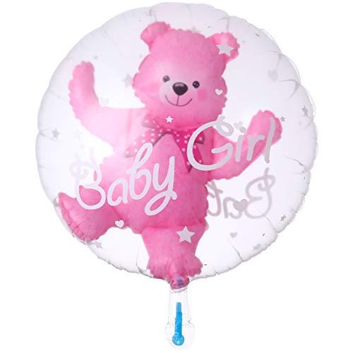 DIWULI, süßer Baby Bär Luftballon, Folien-Ballon rosa Baby Girl Mädchen, Folienluftballon für Babyparty, Geburt, Geburtstag, Kindergeburtstag, Geschenk-Deko (rosa)