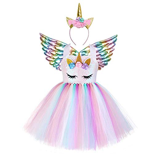 Jxstar Fantasia de unicórnio de flor para meninas Desfile de princesa Tutu Vestidos de festa, Unicorn Sequin, 7-8 Years