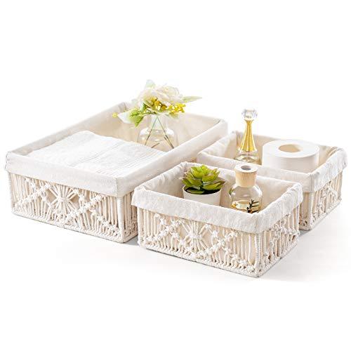 Mkono Macrame Storage Baskets Decor with Removable Cloth Liner Handmade Woven Boho Decor Decorative Countertop Cabinet Organizer for Bedroom Nursery Living Room, Set of 3