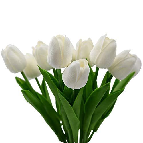 10 Fiori Tulipani Artificiali In Lattice,Dolovemk - Realistici Al Tatto Bouquet,Fiori Finti Da Interno Per Casa,Festa,Ufficio,Giardino,Composizioni Floreali Fai-da-te(bianca)