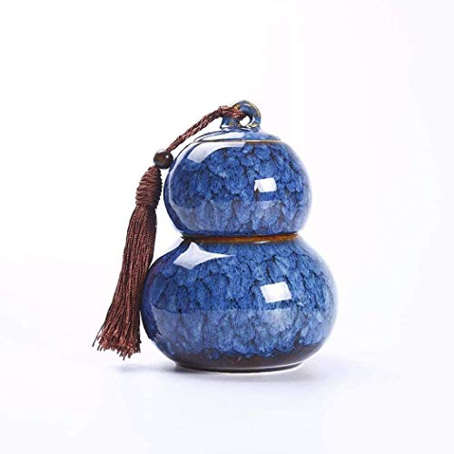 Chihen Frascos Hermeticos Tarro de té Bote de cerámica de la Calabaza té Caddies Lata de té Fiesta del té Bote de azúcar Decoraciones del alimento 1229 (Color : Blue)