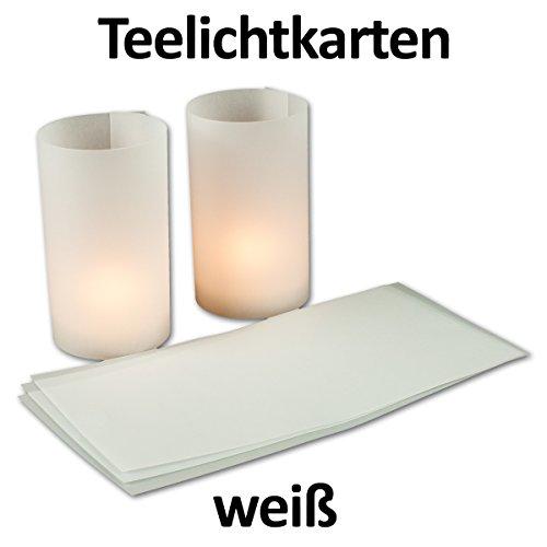 20 Stück - Teelicht-Karte/Windlichtkarte aus transparentem Kartonpapier - Weiß-Transparent - - bemalbar und bedruckbar