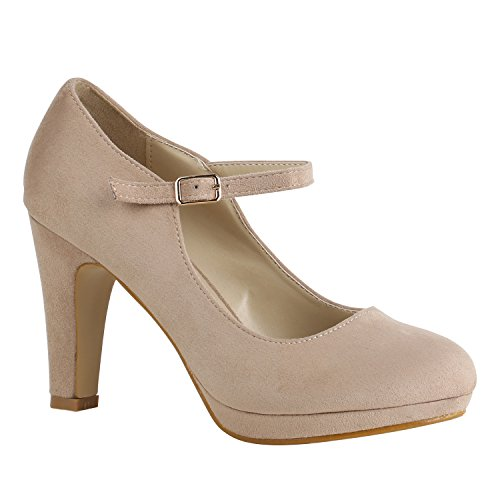 Damen Schuhe Pumps T-Strap High Heels Riemchenpumps Stilettos 157205 Creme Berkley 38 Flandell