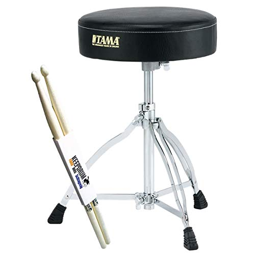 Tama HT130 Rundsitz Schlagzeug-Hocker + keepdrum Drumsticks 1 Paar