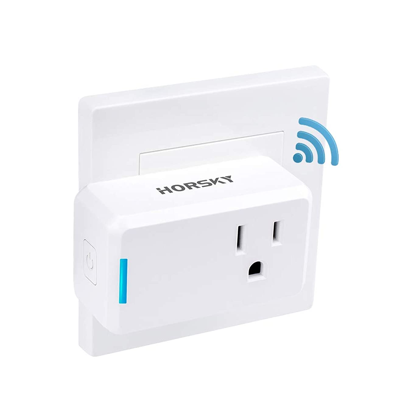 Wifi Smart Plug Alexa,Horsky Wireless Outlet Switch Socket Works with Echo and Google Assistant,No Hub Required,Timing Remote Controlling Electronics Device from Anywhere Via Free App