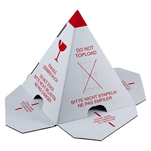 """Palettenhütchen/Stapelschutzpyramide\""""Nicht stapeln\"""", 100 Stück mit Selbstklebeverschluß, Karton weiß mit rotem Druck, Stapelschutz, Ladungssicherung"""