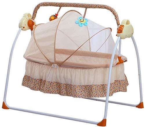 Aohuada - Culla a dondolo elettrica per neonati, culla automatica, con telecomando, zanzariera, con batteria