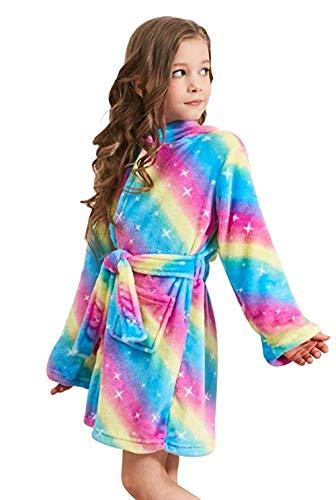 PENGMAI Licorne Peignoir pour Enfants Fille Garçon avec Capuche Vêtements De Nuit Pyjamas Robe de Chambre Serviette Doux - Multicolore - 10/11 ans(160)