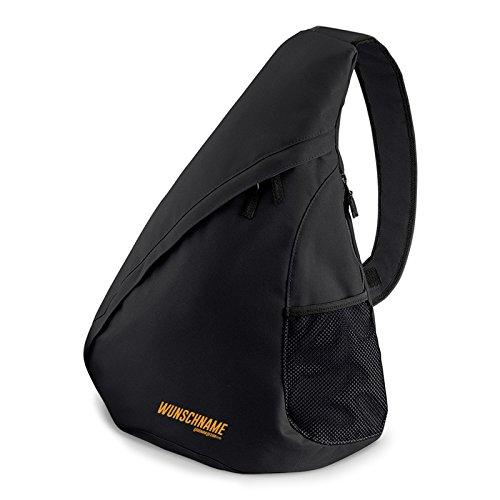 Umhänge Rucksack/Einträger Rucksack : Rucksack mit IHREM persönlichem Schriftzug - Crossbag Farbe: schwarz