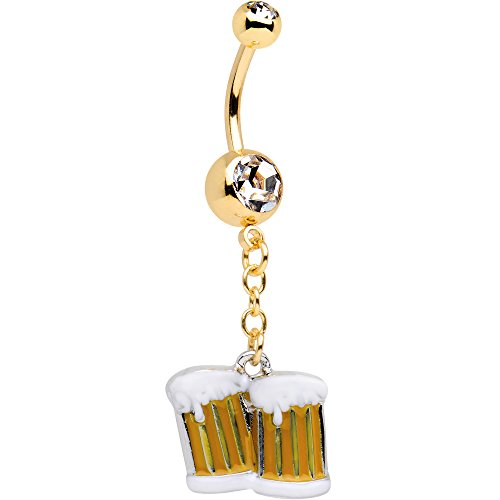 Officially Licensed Cheers Beers emoji Anodized Steel Clear Accent Dangle Belly Ring