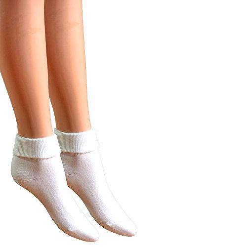Fontana Calze, 6 paia di calzini da donna a bassa compressione 100% cotone mod. Sanitario. BIANCO mis. 37/39