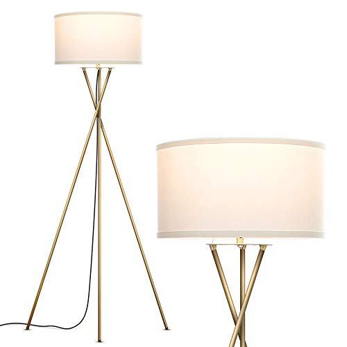 Brightech Jaxon - Mid Century Modern, Gold Tripod Floor Lamp for Living Room - Standing Light with Contemporary Drum Shade Matches Bedroom Decor, Gets...