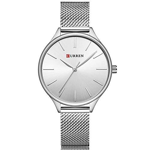 CURREN Reloj de pulsera de acero inoxidable de la marca de moda casual de cuarzo de las mujeres