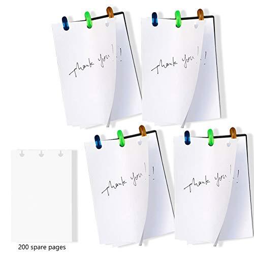 Paquete de 4 blocs de notas magnéticos, con 200 hojas de papel rellenable para listas de tareas, listas de la compra, toma de notas (50 hojas por bloc)