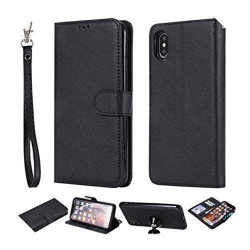 Funda de piel tipo cartera para Samsung Galaxy Note 9 8 5 S10E S10 S9 S8 Plus S7 Edge teléfono caso para iPhone 11 Pro XS Max XR 8 7 6S Plus-negro para Samsung S6 Edge