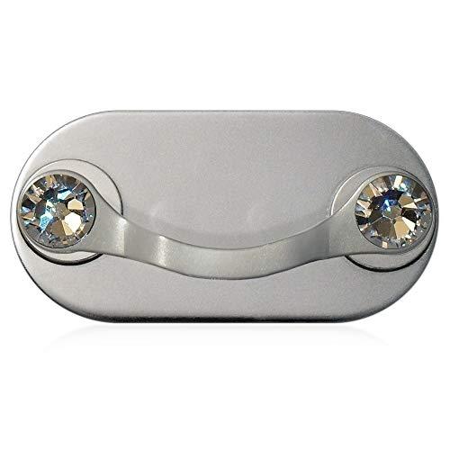 MAG-B magnetischer Brillenhalter (Edelstahl poliert mit original Swarovski Kristallen)