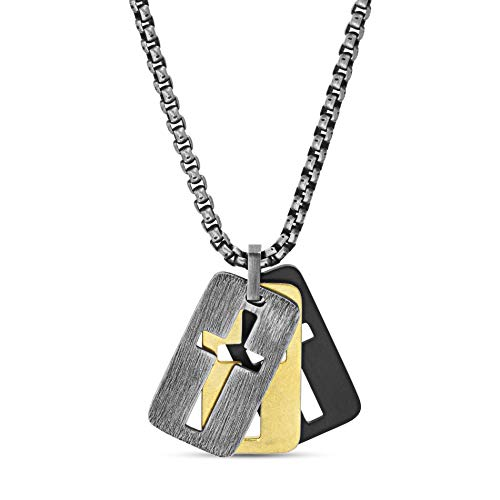 Steve Madden 26' Tri-Color Stainless Steel Box Chain Open Cross Dogtag Trio Pendant Necklace For Men