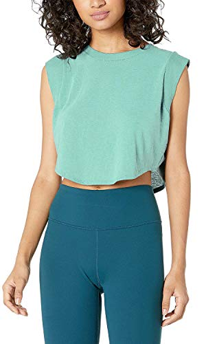 Sanutch Crop Top Workout Workout Tops Womens Cropped Workout Tops Crop Yoga Workout Running Tank Tops for Women Gym Green Teal, X-Large