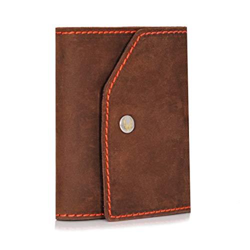 DONBOLSO Donbolso Mini Geldbeutel Hamburg Herren RFID Geldbörse Kartenetui mit Münzfach Leder Karten Portemonnaie Männer Klein Slim Wallet Braun